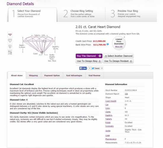 2.01 ct. Carat Heart Diamond