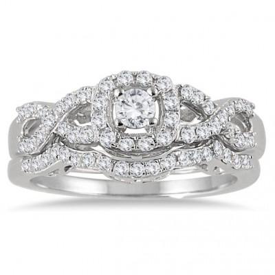 3/4 Carat Diamond Infinity Bridal Set in 10K White Gold