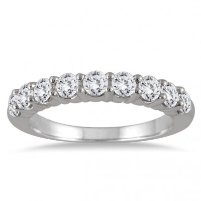 1 1/3 Carat 9 Stone Diamond Wedding Band in 14K White Gold