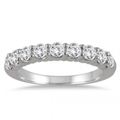 1 1/3 Carat 9 Stone Diamond Wedding Band in 14K White Gold