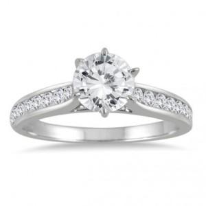 1 Carat Diamond Engagement Ring in 14K White Gold