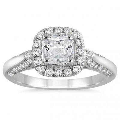 1 1/4 Carat Cushion Cut Diamond Halo Engagement Ring in 14K White Gold