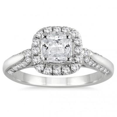 1 1/4 Carat Cushion Cut Diamond Halo Engagement Ring in 14K White Gold