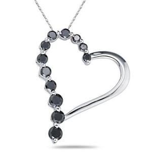 sz heart black diamond pendant