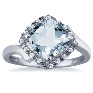 szul aquamarine cushion cut ring