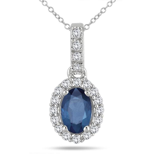 Oval Sapphire and Diamond Halo Pendant in 10K White Gold