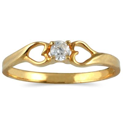 Yellow Gold Promise Ring With Heart Detail
