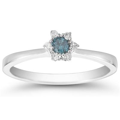 Blue and White Diamond Promise Ring