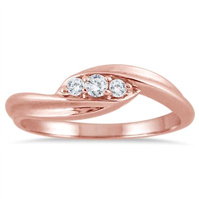 Three Stone Promise Ring in Rose Gold
