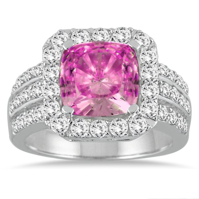 CUSHION_CUT_PINK_TOPAZ_WHITE_DIAMOND_ENGAGEMENT_RING